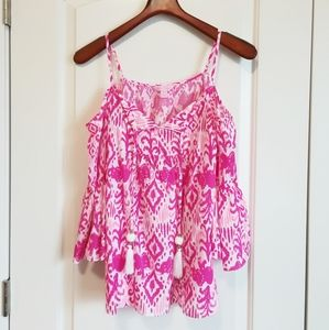 LILLY PULITZER Pink Cold Shoulder Tunic w/ tassels